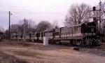 A string of 6 locos backs down towards Glenwood Yard