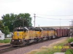 Ex CNW unit now UP 3078 leads westbound freight