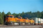 A BNSF stack train glides downhill past Chalendar on the bust transcon.