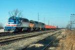 e/b CMSTP&P train led by SD40-2s #156 + #184 + #147