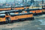 Retired CMSTP&P S12 #920, H12-44s #738 + #734, and active H12-44 #728, and F9A #94C