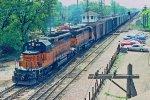 w/b CMSTP&P train led by SD40-2 #143 + SD45 #13