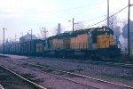 w/b C&NW train led by SD40-2s #6837 + #6830
