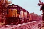 w/b C&NW ballast train led by SD40-2 #6820 + SD45 #910