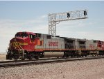 2 BNSF Warbonnets of 2 Different GE Models Proceed West