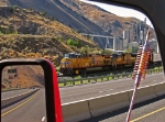 A truckers point of view of UP 5613 as it heads eastbound, Gee I wonder how hot it is out side.