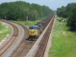 CSX 332 and sister head south on the Nahunta Subdivision with a loaded coal train and not a DPU in sight