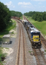 CSX 7642 with the front door in AC mode swing off the Jesup Sub