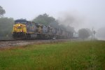 CSX 5008 moving through the morning fog heading east