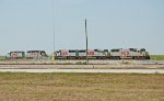 KCS SD50's 7022, 7007. 7021 SD40-2's 3019, 646 sit on the north side of KCS Kendleton yard.