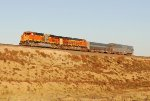 BNSF Track measurement train heading south across a high fill on the Boise City Sub. after sunrise