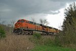 BNSF 5805 and 9863 bring up the rear of a northbound taconite train