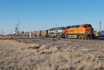 BNSF 6125, 9417 and DPU's 6116, 9389 head south on the Boise City Sub