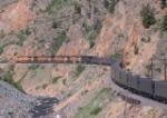 WB coal train snaking its way through Byers Canyon
