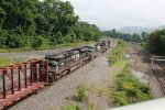 NS 7632 leading 12R out of Enola yard