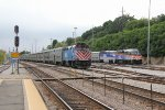 Three different models of Metra locomotives rest at Elgin for the weekend