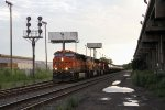 BNSF 6681 leads NS's 66Z up the Harbor with oil loads