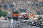 N/B BNSF grain train and S/B stack train