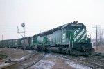e/b BN train led by SD45 #6510, + SD40 #6336 + SD45 #6465