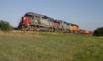 SP 9755 leads northbound Chico rock empty near Hicks, TX