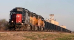 SSW 9653 leads two former sister SP GP60's on an empty Chico rock train northbound at Saginaw, TX