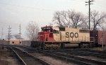 SOO Line SD40 #744 leading w/b train across CMSTP&P