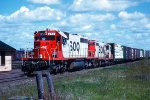 s/b SOO train led by SD40-2 #757 + GP9 #2400
