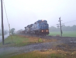 NS 8437 leads a northbound in a deluge that was affecting Maryland in June