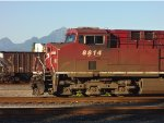 CP 8814 with the North Shore Coastal Mountains  in the background