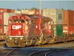 CP 5010/5016 moving stack cars through the CP Rail intermodal yard