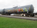 A colorful tank car