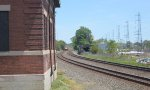 Westbound Stack Train and Lehigh Valley Freight House