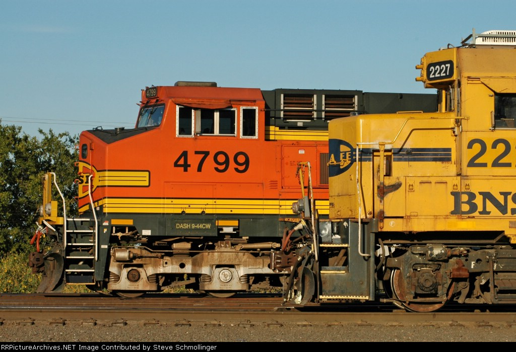 BNSF 4799 and 2227 at the north end of the yard