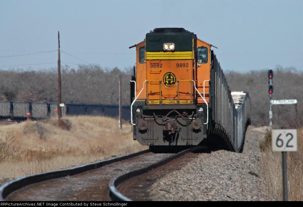 DPU on rear of BNSF empty coal train