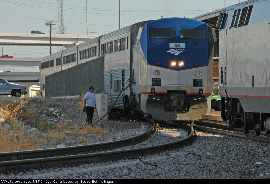Northbound Amtrak train being refueled at the passenger terminal