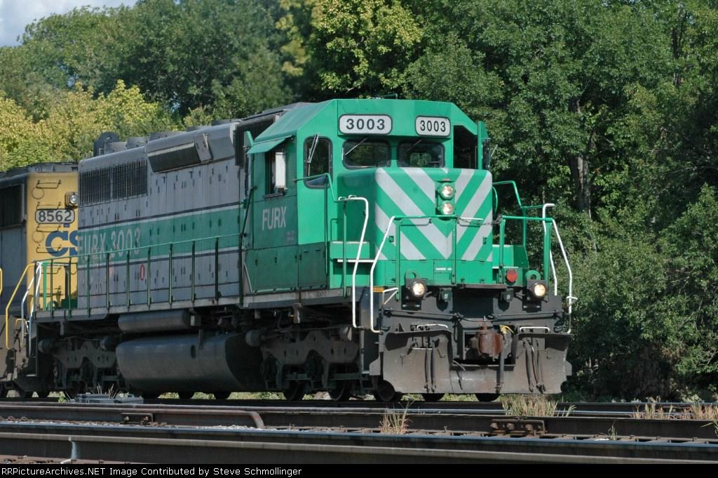 FURX 3003 departingf UP Centennial Yard