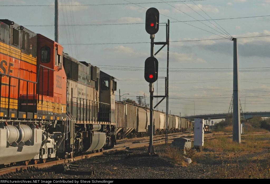 Three trains at Tower 55