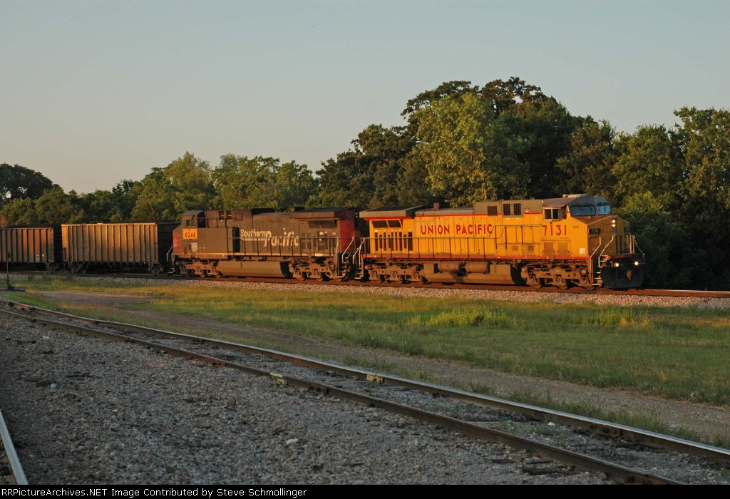 UP southbound coal train at sunset