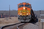 Eastbound BNSF coal train roars out of the siding