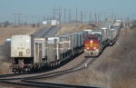 BNSF intermodal trains meet at Hermann