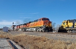 BNSF 7621 East meets rear helper in spur