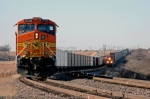 BNSF 7621 East meets empty coal train in the siding at Hermann