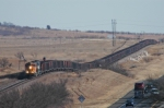 Westbound BNSF coal empties negotiate multiple hogbacks