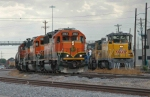 BNSF 3163 East departs Centennial Yard as a yard job performs its chores