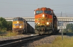 BNSF 4409 North and UP 5564 North wait for clear signals at Tower 55