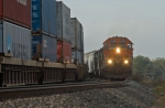 BNSF 6399 North meets a southbound stack train