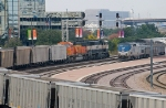BNSF westbound coal empty meets Texas Eagle at Dallas UPT