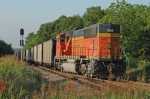 BNSF DPU on southbound coal train