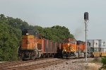 BNSF coal train meets westbound stack