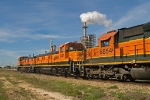 BNSF northbound passes Lyondell Oil Refinery